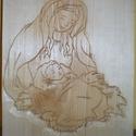 Szűz Mária a kisdeddel - faragás , Dekoráció, Képzőművészet, Ünnepi dekoráció, Karácsonyi, adventi apróságok, Karácsonyi dekoráció, Szobor, Famegmunkálás, Színtelen páccal kezelve. Anyaga hársfa. Minta kézzel faragott. Mérete 24*21 cm , Meska