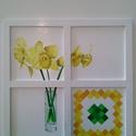 Nárcisz csempével, olaj, fatáblára, 38 x 38 cm, Dekoráció, Képzőművészet, Kép, Festmény, Festészet, Ezt a képet előre keretezett falemez táblára festettem. A virágot és a mozaik mintát olajfestékkel,..., Meska
