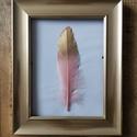 Rózsaszín tollas kép 1 tollal, Otthon & lakás, Dekoráció, Kép, Dísz, Festett tárgyak, Valódi festett tollak képkeretben. A valódi tollak struktúrája egyedi megjelenést, lágyságot, harmó..., Meska
