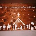 Az igaz szeretet jászolban született, Dekoráció, Ünnepi dekoráció, Karácsonyi, adventi apróságok, Karácsonyi dekoráció, Festett tárgyak, Kézzel festett fatábla Dió lazúrral kezelt  alapra fehér betűkkel festettem rá a feliratot, és a Be..., Meska