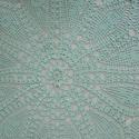 Türkiz légiessség: nagy kerek horgolt terítő, Dekoráció, Otthon, lakberendezés, Lakástextil, Terítő, Horgolás, 100% pamut fonalból horgoltam ezt a nagy kerek terítőt. Gyönyörű türkiz színe van, szélét fehér csi..., Meska