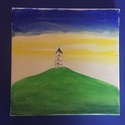 A torony magánya, a magány tornya, Képzőművészet, Dekoráció, Otthon, lakberendezés, Festmény, Festészet, Akril festmény, fakeretre feszített vásznon 20*20*1 cm Kis dekoratív hangulatkép az egyedüllétről, Meska