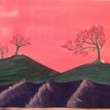 A Nyulak szigete (avagy hamis Japán utóérzet), Képzőművészet, Otthon, lakberendezés, Festmény, Akril, Festészet, Alkril festmány, vászon 21*29,5 cm Élénkszínű tájkép némi keleti, stilizált utóérzettel és apró feh..., Meska
