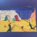 Valami nem jó, Dekoráció, Képzőművészet, Kép, Festmény, Festészet, 21*30cm vászon, akril festmény. Valamiféle nevesíthetetlen szorongást ábrázol. , Meska