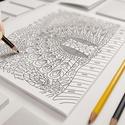 Nyomtatható színező - Madarak, Egyedi grafikával digitális technikával készü...