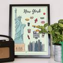 New York szimbólumai színesben, Dekoráció, Kép, Grafika, Egyedi grafikával készült színes kép New York szimbólumaival. A/4-es méretű. A kép kiváló minőségű k..., Meska