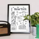 New York szimbólumai monokróm, Dekoráció, Kép, Grafika, Egyedi grafikával készült monokróm kép New York szimbólumaival. A/4-es méretű. A kép kiváló minőségű..., Meska