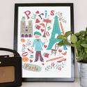 Párizsi hangulatkép, Dekoráció, Képzőművészet, Kép, Grafika, Egyedi grafikával készült kép Párizs szimbólumaival. A/4-es méretű. A kép kiváló minőségű kreatív ka..., Meska