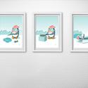 Gyerekszoba dekoráció - A pingvin ebédel, Baba-mama-gyerek, Gyerekszoba, Baba falikép, Képkeret, Fotó, grafika, rajz, illusztráció, 3 A/4-es méretű képből álló pingvines sorozat gyerekszobába.  Az ár 3 db keretezett képre vonatkozi..., Meska