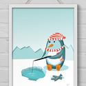 Gyerekszobai dekoráció - A pingvin horgászik, Baba-mama-gyerek, Gyerekszoba, Baba falikép, Képkeret, Fotó, grafika, rajz, illusztráció, A/4-es méretű kép fehér keretben A pingvin ebédje sorozat első része. A teljes sorozat egyben is me..., Meska