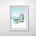 Gyerekszobai dekoráció - A pingvin sütöget, Baba-mama-gyerek, Gyerekszoba, Baba falikép, A/4-es méretű kép. A pingvin ebédje sorozat második része. A teljes sorozat egyben is megvásárolható..., Meska