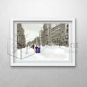 New York anno, Dekoráció, Kép, Egyedi grafikával készült kép századfordulós New York-i utcarészlettel A/3-as méretű. A kép kiváló m..., Meska