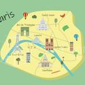Párizs térkép híres épületekkel, Dekoráció, Otthon, lakberendezés, Kép, Falikép, Egyedi grafikával készült kép A/3-as méretű. A térkép egyedi illusztrációkat tartalmaz. A kép kiváló..., Meska