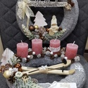 Kötött adventi koszorú ajtódísszel, Dekoráció, Karácsonyi, adventi apróságok, Otthon, lakberendezés, Ünnepi dekoráció, Karácsonyi dekoráció, Ajtódísz, kopogtató, Kötés, Mindenmás, Szalma alapú, kézi kötéssel bevont adventi koszorú, színben hozzá illő ajtódísszel. Apró szárított ..., Meska