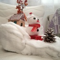 Hóember szánkózik, Dekoráció, Ünnepi dekoráció, Karácsonyi, adventi apróságok, Karácsonyi dekoráció, Hóember szánkozik a hegyekben. Habszivacs és hungarocel bevonásával készült. A hóember sajá..., Meska