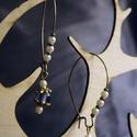 Kék bronz fülbevaló, Ékszer, Fülbevaló, Lógós fülbevaló, Ékszerkészítés, Logós bronz fülbevaló, gyöngyökkel. Mindennapi, kényelmes viselet, Meska