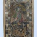 Budai vár cserepeire megalkotott mozaik táblakép, Képzőművészet, Vegyes technika, Kerámia, Antikolt fával kombinált mozaik táblakép japán motívumok felhasználásával  40x85cm, Meska