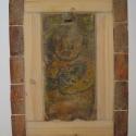 Cserépfestmény mozaikkerámiakép, Képzőművészet, Vegyes technika, Festmény, Kerámia, Antikolt fával kombinált mozaik táblakép Hawaii motívumok felhasználásával  45x25cm, Meska
