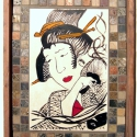 Kerámia  falikép táblakép japán gésával, Képzőművészet, Vegyes technika, Festmény, Kerámia, Festészet, Antikolt fával kombinált  táblakép  japán motívumok felhasználásával kb 40x85 cm, Meska