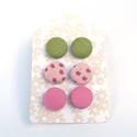 Fülbevaló szett rózsaszín-zöld, Ékszer, óra, Fülbevaló, Textilgombokkal készült beszúrós fülbevaló szett, mely 3 pár fülbevalót tartalmaz. A fülbevalók átmé..., Meska