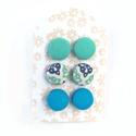Fülbevaló szett kék-zöld, Ékszer, Fülbevaló, Textilgombokkal készült beszúrós fülbevaló szett, mely 3 pár fülbevalót tartalmaz. A fülbevalók átmé..., Meska