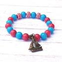 Piros-kék nyári ásványkarkötő, Ékszer, óra, Karkötő, Ha várod már a nyarat és szereted a piros-fehér-kék színösszeálíltást, ez a karkötő neked készült, i..., Meska