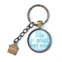 Soha ne mondd.... -  üveglencsés  kulcstartó , Ékszer, óra, Mindenmás, Kulcstartó, Üveglencsés mintával készült feliratos kulcstartó, a minta átmérője 2,5  cm .  A lánc hossza 3 cm, a..., Meska