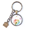 Pitypang -  üveglencsés  kulcstartó , Ékszer, óra, Mindenmás, Kulcstartó, Színes pitypangos üveglencsés mintával készült kulcstartó, a minta átmérője 2,5  cm .  A lánc hossza..., Meska
