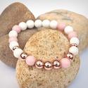 Rózsaszín bársony - ásványkarkötő rózsaarannyal, Ékszer, óra, Karkötő, 8 mm-es fehér jáde és rózsaszín jáde ásványgyöngyökből készült karkötő, rózsaarany (rosegold) fém kö..., Meska