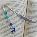 Kék rénszarvas - könyvjelző , Ékszer, Naptár, képeslap, album, Könyvjelző, Kék üveggyöngyökkel és kékre festett tűzzománc szarvas medállal díszített könyvjelző - a tökéletes a..., Meska