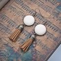 Csoki-vanília bőr fülbevaló , Textilbőrből készült gombokból készítettem ...