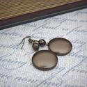 Bronzbarna textilbőr fülbevaló , Ékszer, Fülbevaló, Elegáns, fényes bronzbarna színű textilbőr gombból készítettem fülbevalót, színben hozzáillő üveggyö..., Meska