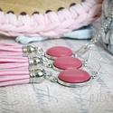 Pink bőr ékszerszett, Ékszer, Nyaklánc, Fülbevaló, Sötétrózsaszínű, valódi bőrből készített ékszerszett, nyaklánc és fülbevaló, világosabb rózsaszín bő..., Meska