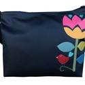 Tulipános, madaras táska, Táska, Válltáska, oldaltáska, *** AKCIÓS! Eredeti ára 8500 Ft! ***  Tulipános, madárkás pakolós táska.  Mérete: 30x38x6 cm (a4 bel..., Meska