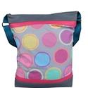 Színes pöttyös táska, Táska, Válltáska, oldaltáska, *** AKCIÓ! Eredeti ára 6500 Ft ***  Bohó színes textil párosítottam szürke és pink textilbőrrel.  Mé..., Meska
