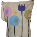 Mese virágos táska, Táska, Válltáska, oldaltáska, Mesés virágokkal és egy kis madárkával díszítettem ezt a táskát.  Mérete: 30x38x6 cm (a4 belefér) Bé..., Meska