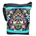 Madaras designer táska (AKCIÓS), Táska, Válltáska, oldaltáska, *** AKCIÓS! Eredeti ára 8500 Ft! ***  Fekete és élénk türkiz textilbőrt kombináltam ezzel a gyönyörű..., Meska