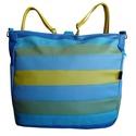 Kék-zöld csíkos hátizsák oldaltáska, Táska, Válltáska, oldaltáska, Hátizsák, Nagy méretű pakolós hátizsák és oldaltáska egyben, ami igazi üde színfoltja lehet a hétköznapoknak :..., Meska