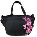 Orchideás pakolós táska, Táska, Válltáska, oldaltáska, Egy csokor orchidea került erre a táskára.  Mérete: 40x30x6 cm (a4 belefér) Bélése erős pamutvászon...., Meska