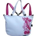 Orchideás hátizsák és pakolós táska egyben, Táska, Válltáska, oldaltáska, Egy csokor orchidea került erre a táskára. Hátizsákként és oldaltáskaként is hordhatod!  Mérete: 40x..., Meska