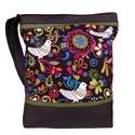Madárkás designer táska (AKCIÓS), Táska, Válltáska, oldaltáska, *** AKCIÓS! Eredeti ára 8500 Ft! ***  Barna és sötétzöld textilbőrt kombináltam ezzel a gyönyörű, ma..., Meska