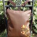Kalocsai virágos hátizsák és oldaltáska egyben (barna), Táska, Válltáska, oldaltáska, Hátizsák, Kalocsai minta került erre a hátizsákra, ami oldaltáska is egyben.  Mérete: 30x38x6 cm (a4 belefér) ..., Meska