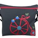 Biciklis oldaltáska - nem csak biciklizéshez , Táska, Válltáska, oldaltáska, Igazán strapabíró, masszív munkaruha vászon a táska alapja, amit egy textilbőrből készült biciklis (..., Meska