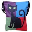 Színes fekete cicás táska, Táska, Válltáska, oldaltáska, Hatalmas fekete cica dísziti ezt a vidám, színes táskát, amit vállon és oldaltáskaként is hordhatsz...., Meska