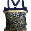 """""""Arany éj"""" hátizsák és oldaltáska egyben, Sötétkék cordurát kombináltam arany textilbő..."""