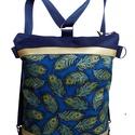 Pávás hátizsák és oldaltáska egyben, Sötétkék cordurát kombináltam arany textilbő...