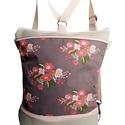 Natúr virágos hátizsák és oldaltáska egyben, Táska, Válltáska, oldaltáska, Hátizsák, Drapp színű cordurát kombináltam púder rózsaszín textilbőrrel és egy virág mintás designer textillel..., Meska