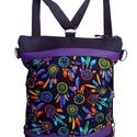 """""""Álomfogó"""" hátizsák és oldaltáska egyben, Táska, Válltáska, oldaltáska, Hátizsák, Fekete cordurát kombináltam lila textilbőrrel és egy színes, álomfogó mintás deigner textillel. A tá..., Meska"""