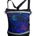 """""""Galaxis"""" hátizsák és oldaltáska, Táska, Hátizsák, Fekete cordurát kombináltam ezüst színű textilbőrrel és egy gyönyörű, galaxis mintával nyomott vízál..., Meska"""