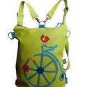 Biciklis hátizsák (és oldaltáska), Táska, Hátizsák, Válltáska, oldaltáska, Vidám biciklis táska, hogy minden nap jókedvű tavaszi/nyári hangulatod legyen! A táskát a pántok átc..., Meska